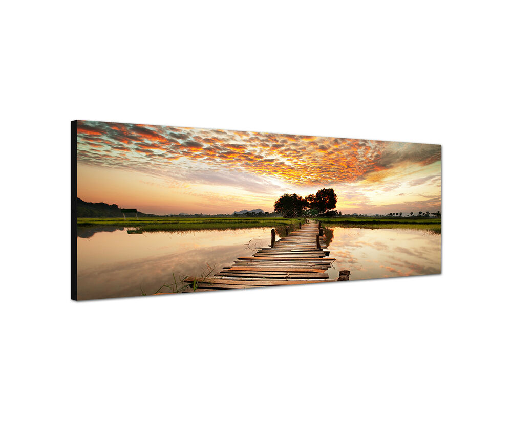 panoramabild 150x50cm sonnenuntergang keilrahmenbild leinwand modern ebay. Black Bedroom Furniture Sets. Home Design Ideas