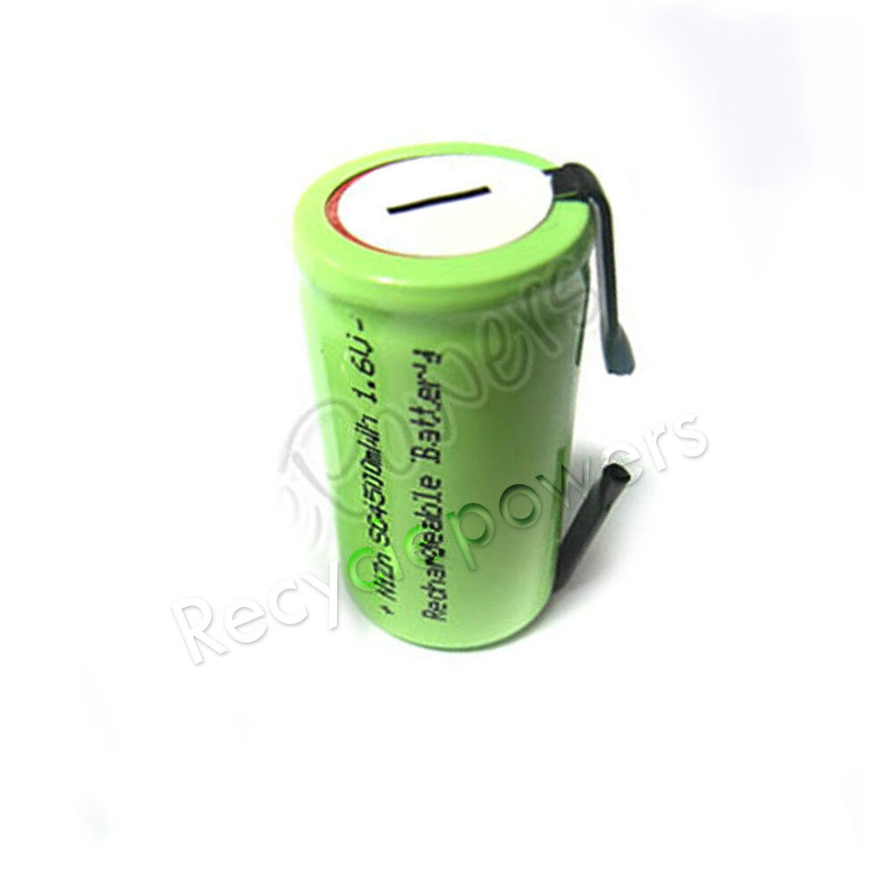 sub c 4500mwh 1 6v volt nizn rechargeable battery cell pack with tab green ebay. Black Bedroom Furniture Sets. Home Design Ideas