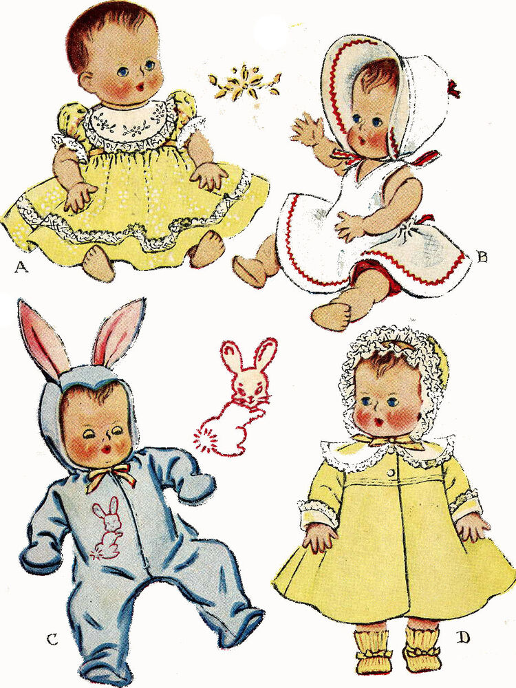 Vintage Doll Clothes Pattern 1657 for 16 inch Tiny Tears ...