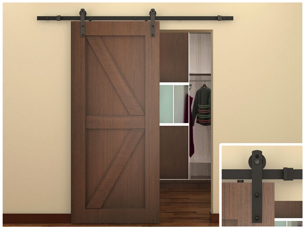 6 ft dark coffee antique style steel sliding barn wood for Sliding closet doors