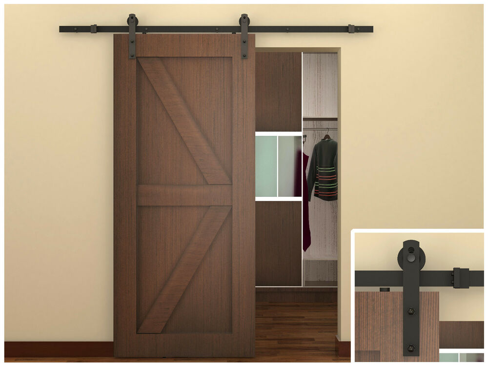 6 ft dark coffee antique style steel sliding barn wood door closet hardware set ebay. Black Bedroom Furniture Sets. Home Design Ideas