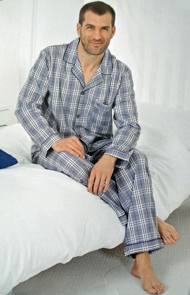 herren schlafanzug pyjama lang grau im karo design baumwolle gr s xxxl 44 66 ebay. Black Bedroom Furniture Sets. Home Design Ideas
