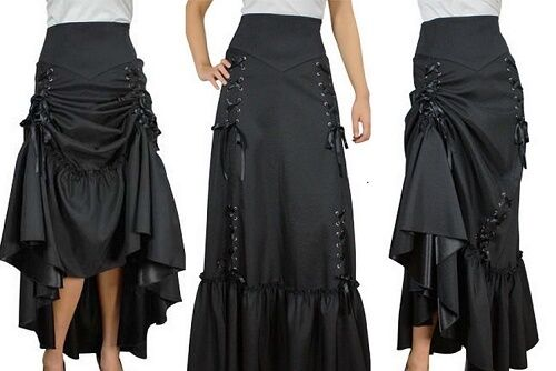 THREE WAY LACE UP RENAISSANCE SKIRT BLACK GOTHIC VICTORIAN STEAMPUNK ...