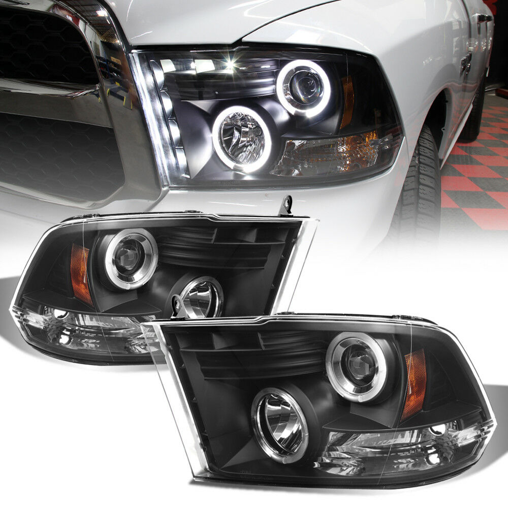 black 2009 2017 dodge ram led halo projector headlights. Black Bedroom Furniture Sets. Home Design Ideas