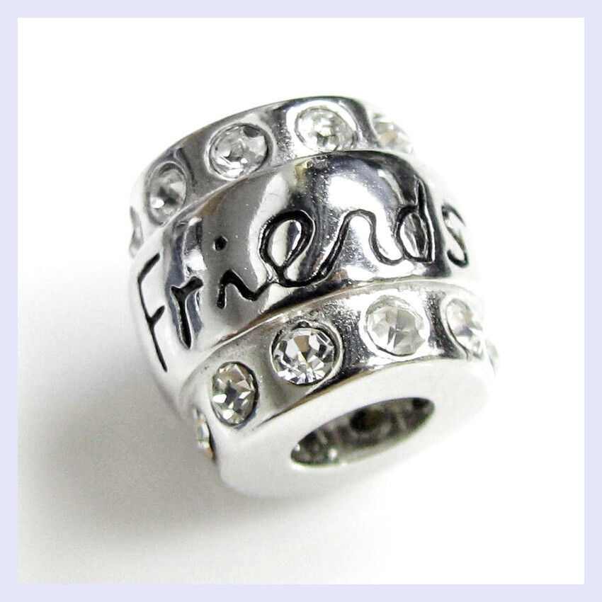 Bead Charm Bracelets: .925 Sterling Sliver Friend CZ Crystal Barrel Bead For