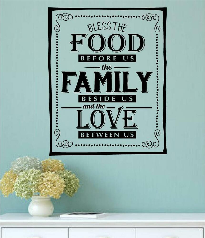 ... Food Before Us Family Love Vinyl Decal Wall Art Stickers Letters Word