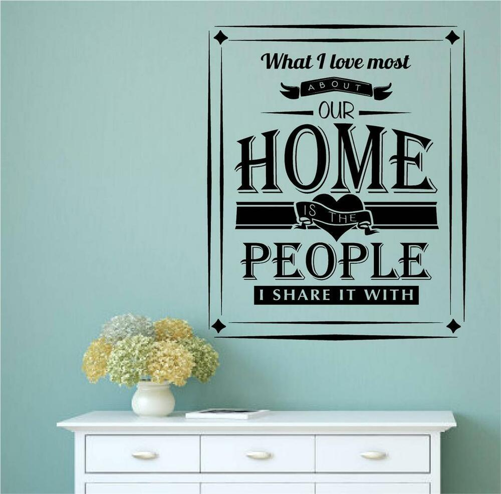 Word Art Home Decor: What I Love Most About Our Home Vinyl Decal Wall Art