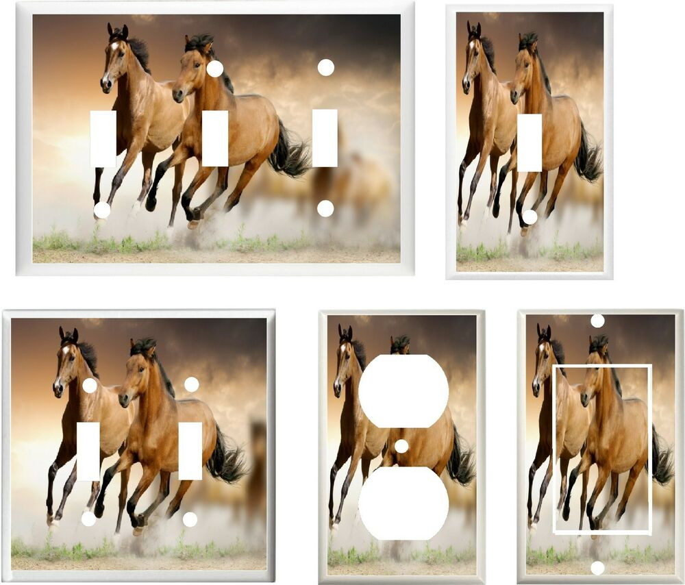 Horses running free image 25 home decor light switch for Horse decorations for home