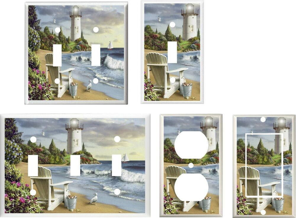 lighthouse beach chair seagulls sea shells home decor light switch cover plate ebay. Black Bedroom Furniture Sets. Home Design Ideas