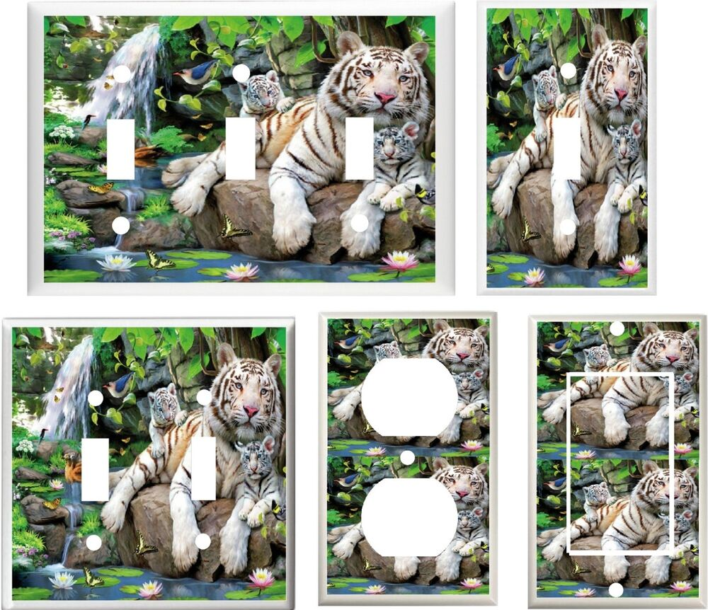 Http Www Ebay Com Itm White Tiger Mother And Baby Cubs In Jungle Home Decor Light Switch Cover Plate 380939663092
