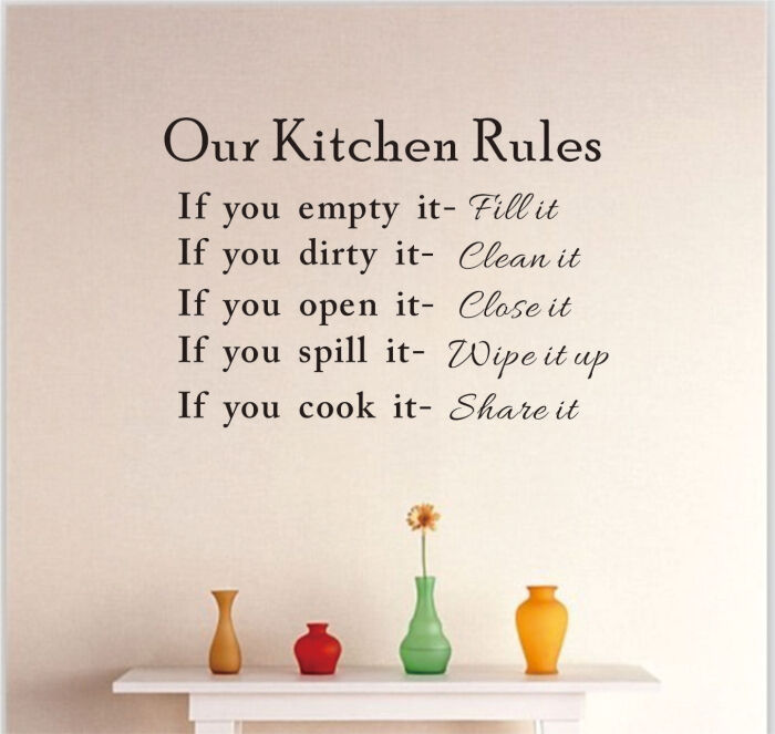 Removable Kitchen Rules Quote Room Stickers DIY Vinyl Wall