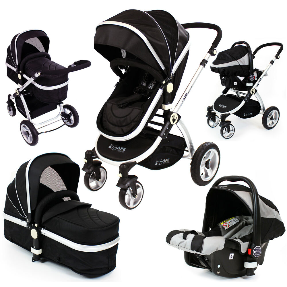 baby pram pushchair swivel wheels isafe luxury car seat travel system new 3in1 ebay. Black Bedroom Furniture Sets. Home Design Ideas