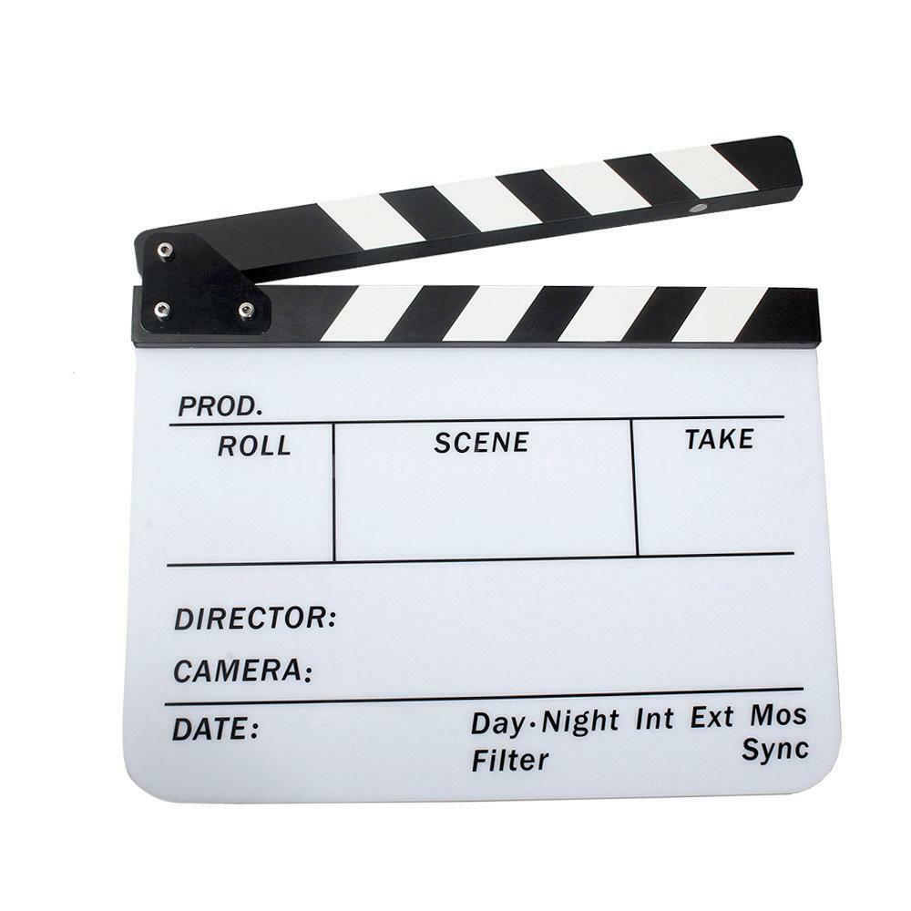mini acrylic clapboard dry erase director tv film movie clapper board slate new ebay. Black Bedroom Furniture Sets. Home Design Ideas