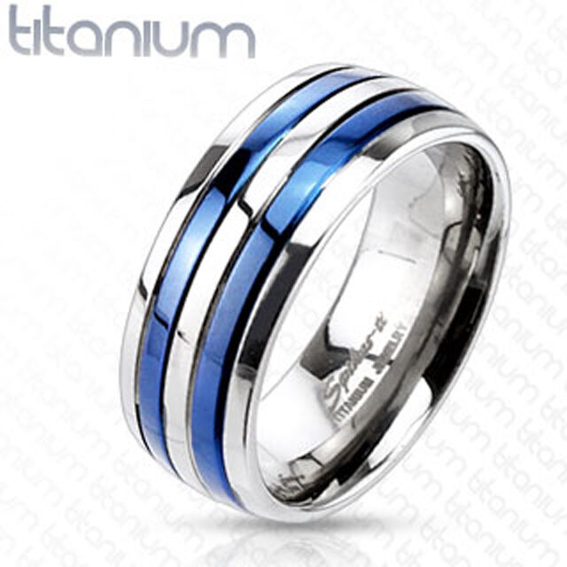 Titanium Double Striped Blue IP Comfort Fit Wedding Band Mens Ring