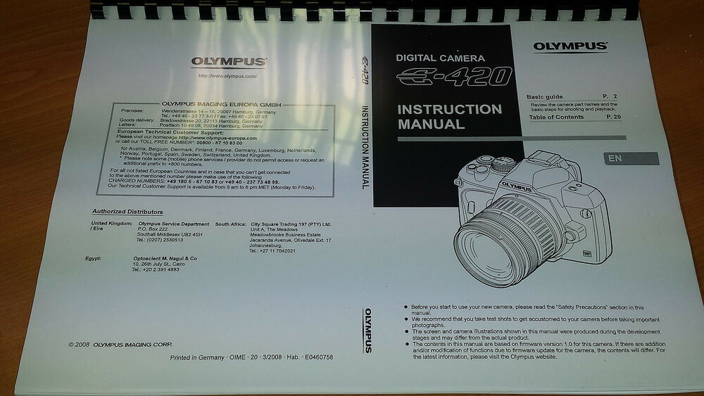 olympus e 420 digital camera printed instruction manual