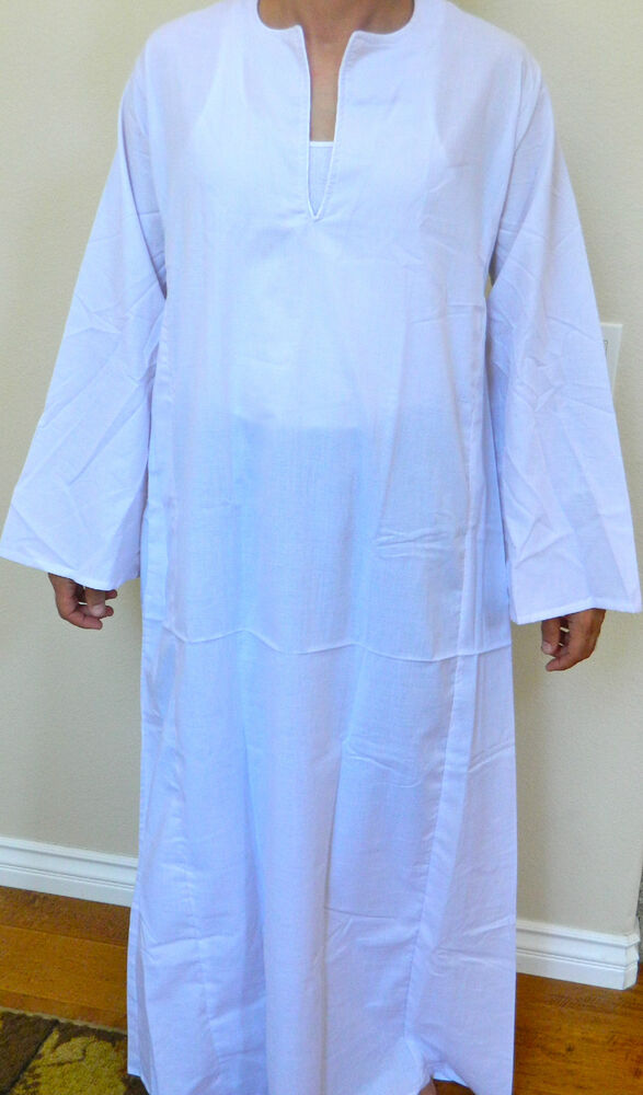 Egyptian cotton casual men galabia white sleepwear small for Mens egyptian cotton dress shirts