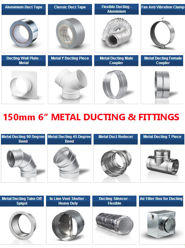 6 inch dia 150mm metal ducting fittings pipe - Bathroom exhaust fan duct reducer ...