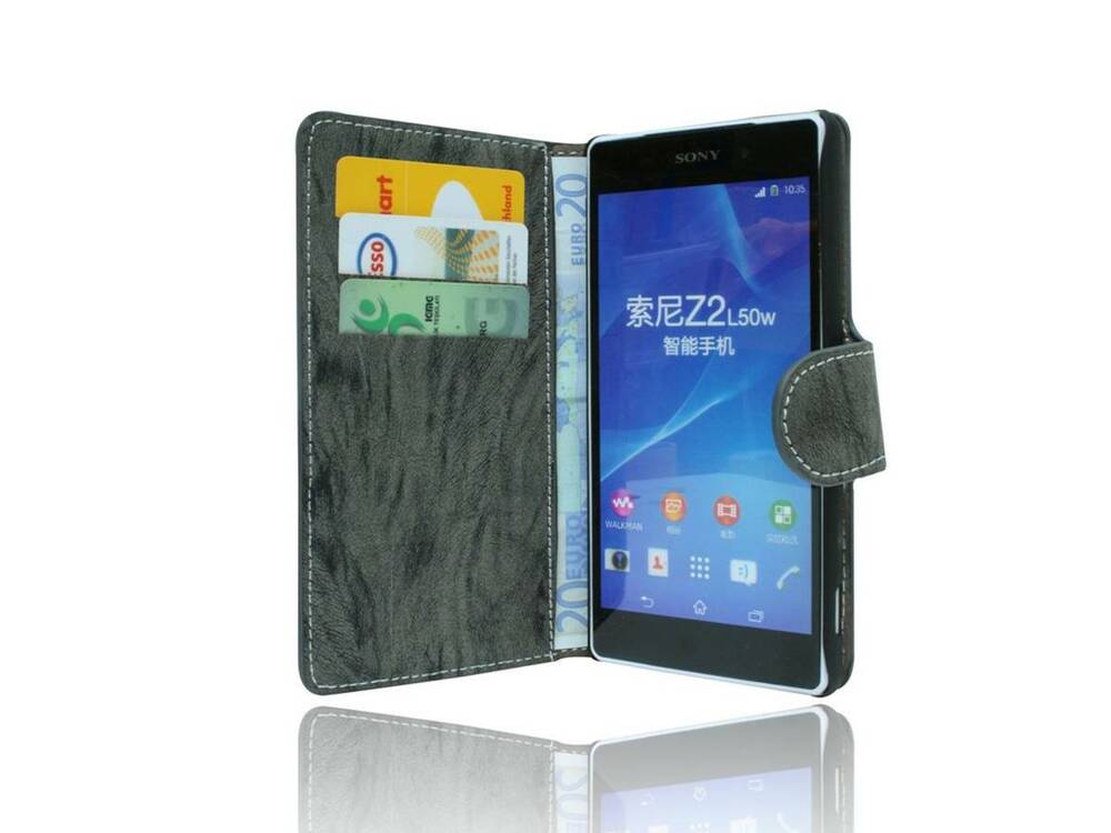 book style handyh lle tasche case cover f r sony xperia z2. Black Bedroom Furniture Sets. Home Design Ideas
