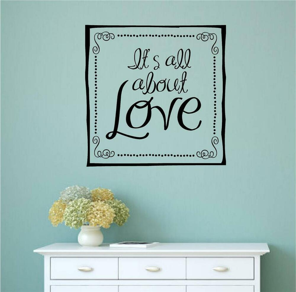 Words For The Wall Home Decor: It's All About Love Vinyl Decal Wall Art Stickers Letters