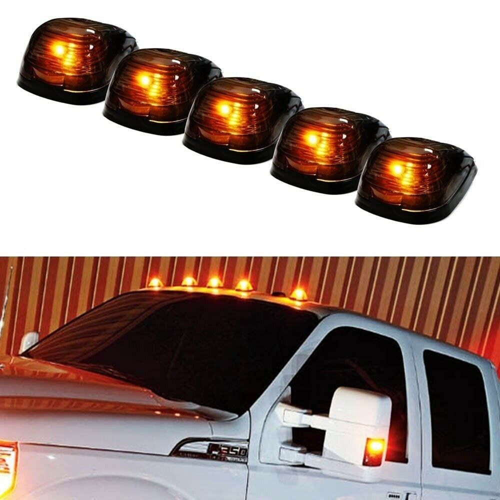 5 Black Smoked Cab Roof Marker Running Lamps W Amber Led Lights Drl 9005 9006 Relay Wiring Harness For Hid Conversion Kit Addon Fog Truck 4x4 Ebay