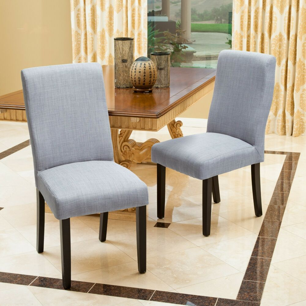 Contemporary Modern Dining Chairs: Set Of 2 Contemporary Grey Fabric Dining Chairs