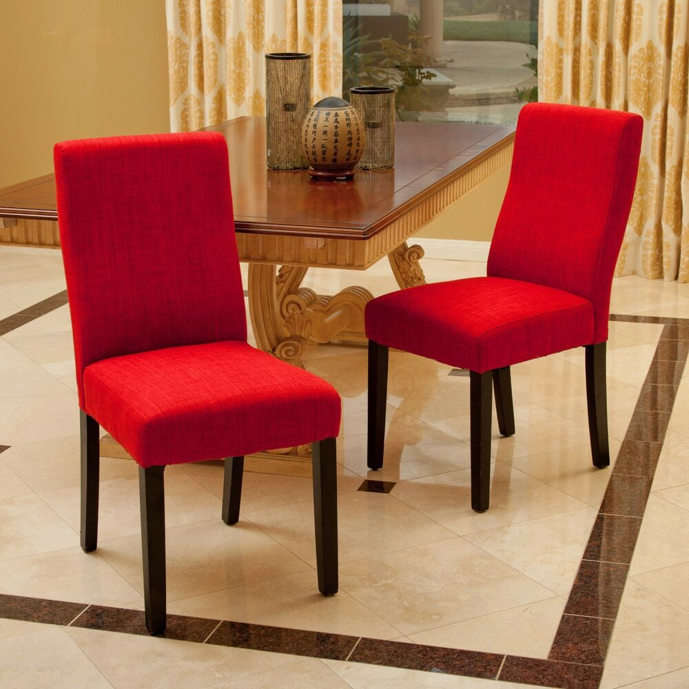 Set of 2 contemporary red fabric dining chairs ebay for Red dining room chairs