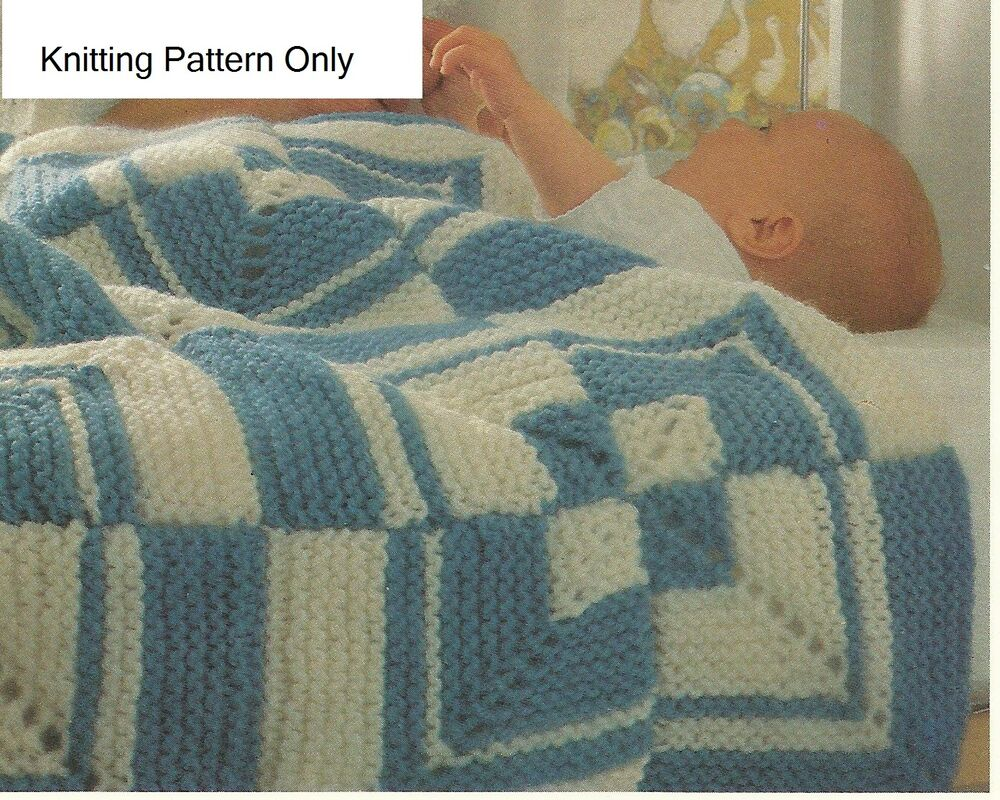 Knitted Sock Pattern Free : BABYS COT/PRAM COVER/BLANKET PATCHWORK KNITTING PATTERN LAMINATED eBay