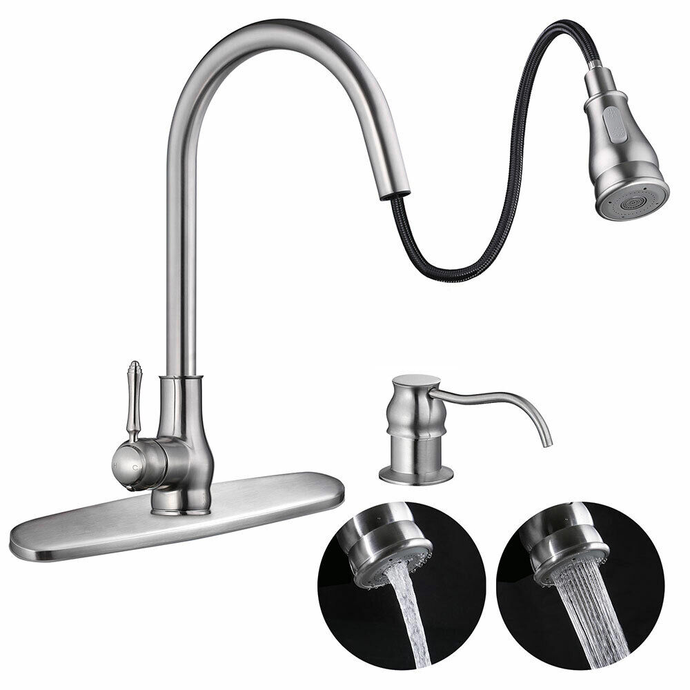 18 Pull Out Kitchen Sink Faucet Spray Swivel Pull Down Plumbing Soap Dispenser Ebay