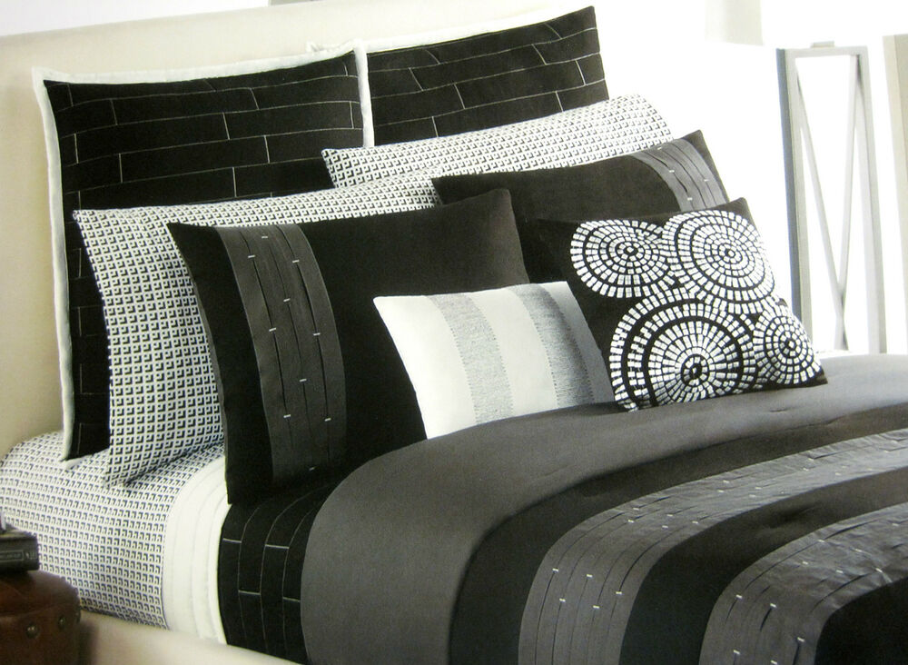twin single apt 9 illusion black gray pintuck pleats sham duvet cover set ebay. Black Bedroom Furniture Sets. Home Design Ideas