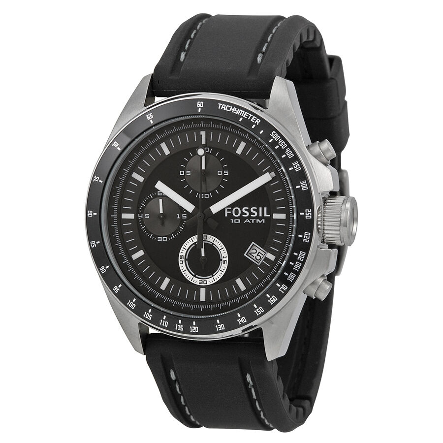 Fossil men 39 s decker ch2573 black silicone analog quartz watch 691464297145 ebay for Watches for men