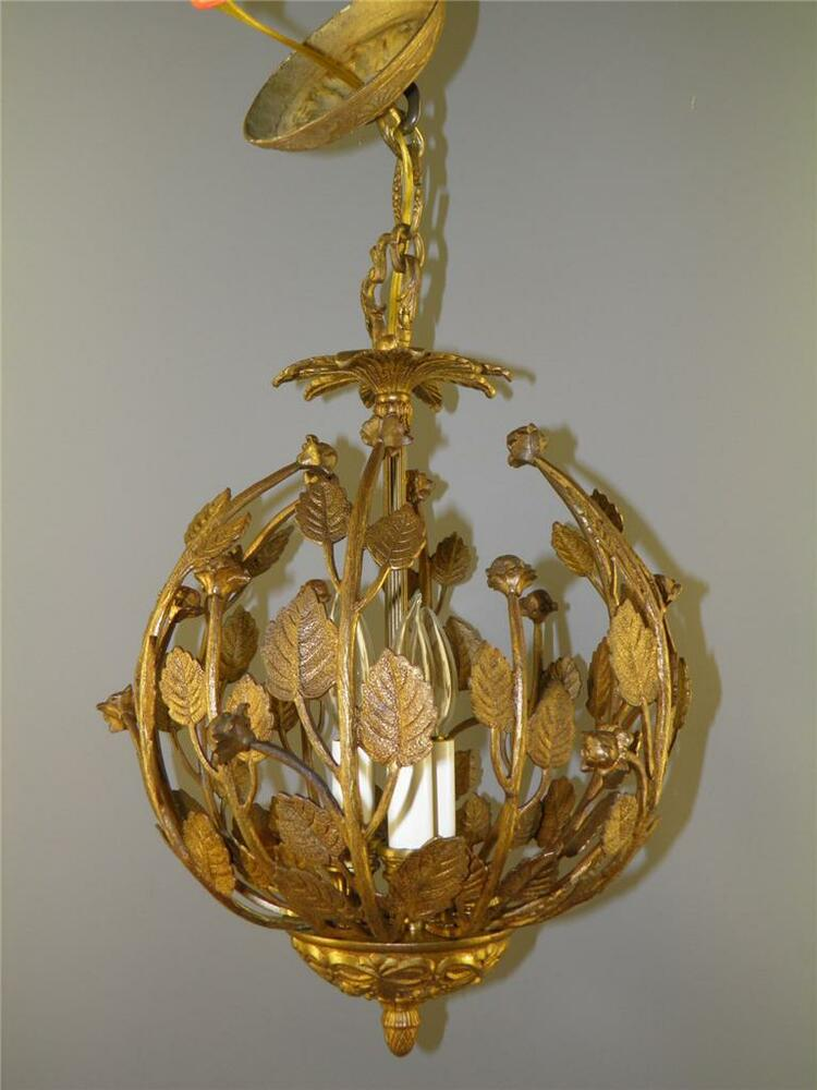 Antique Bronze Ornate Leaf Floral Roses Nest Chandelier