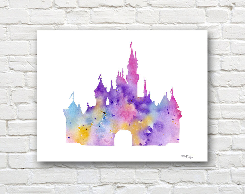 Cinderella 39 s castle art print abstract watercolor painting Colorful wall decor