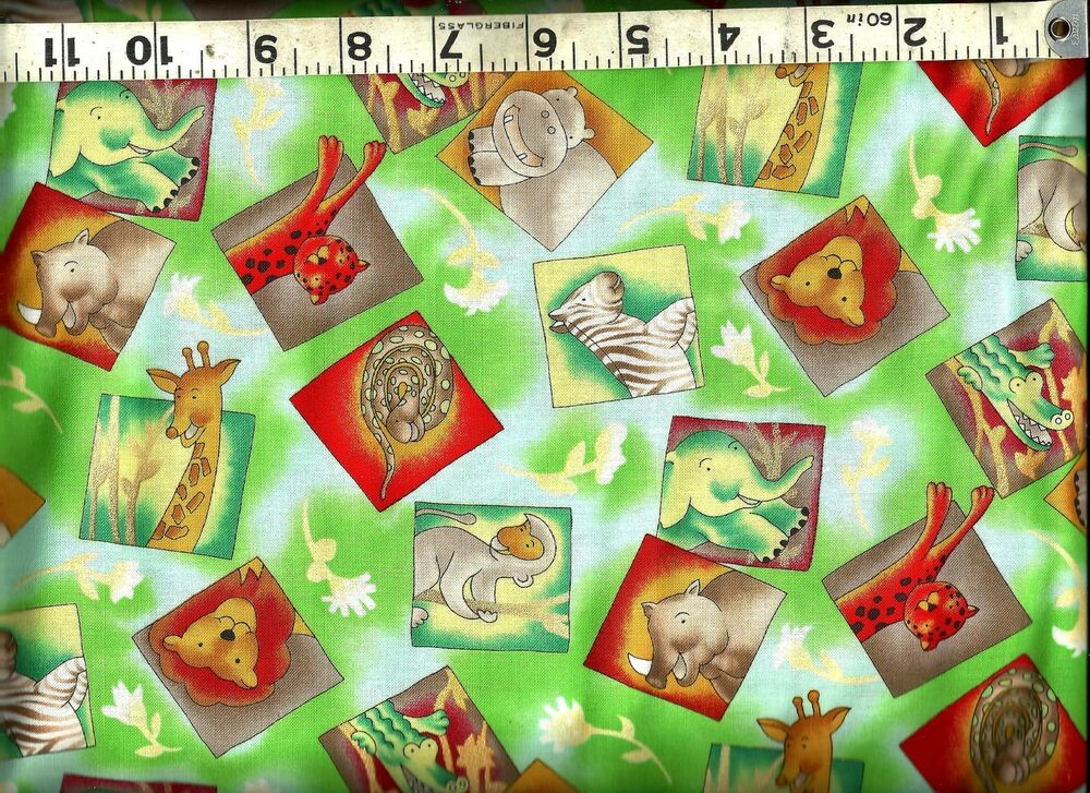 Blank quilting magic garden jungle animals 100 for Kids jungle fabric