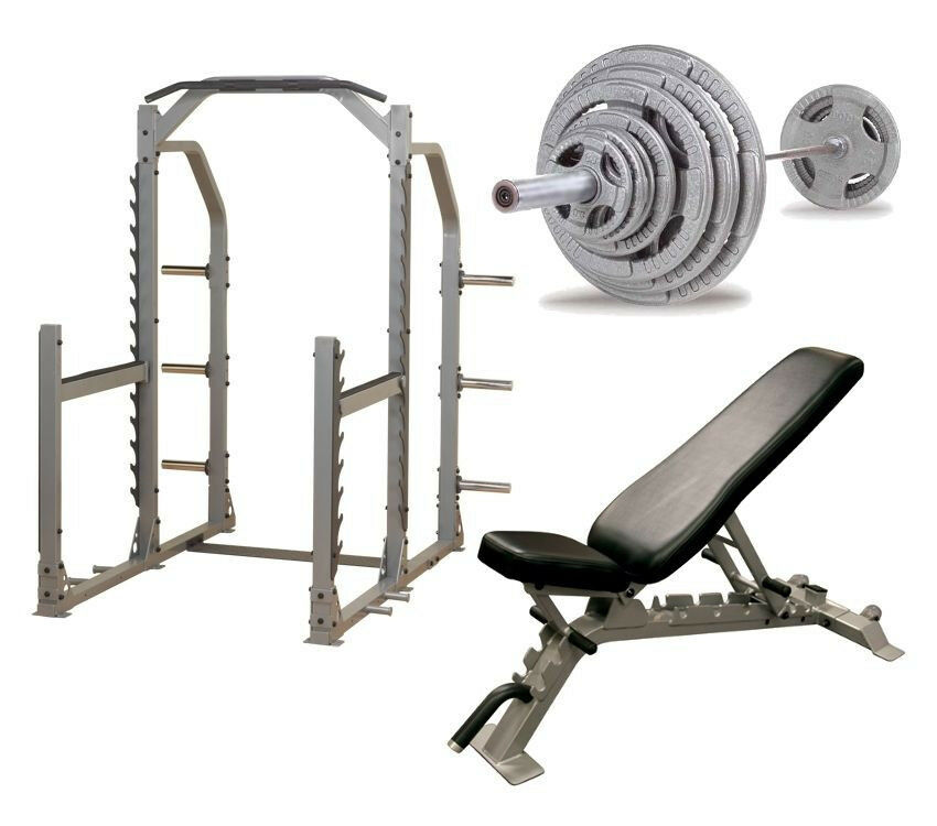 Body Solid Pro Multi Squat Rack With Fid Bench And 300 Lb Olympic Set New Ebay