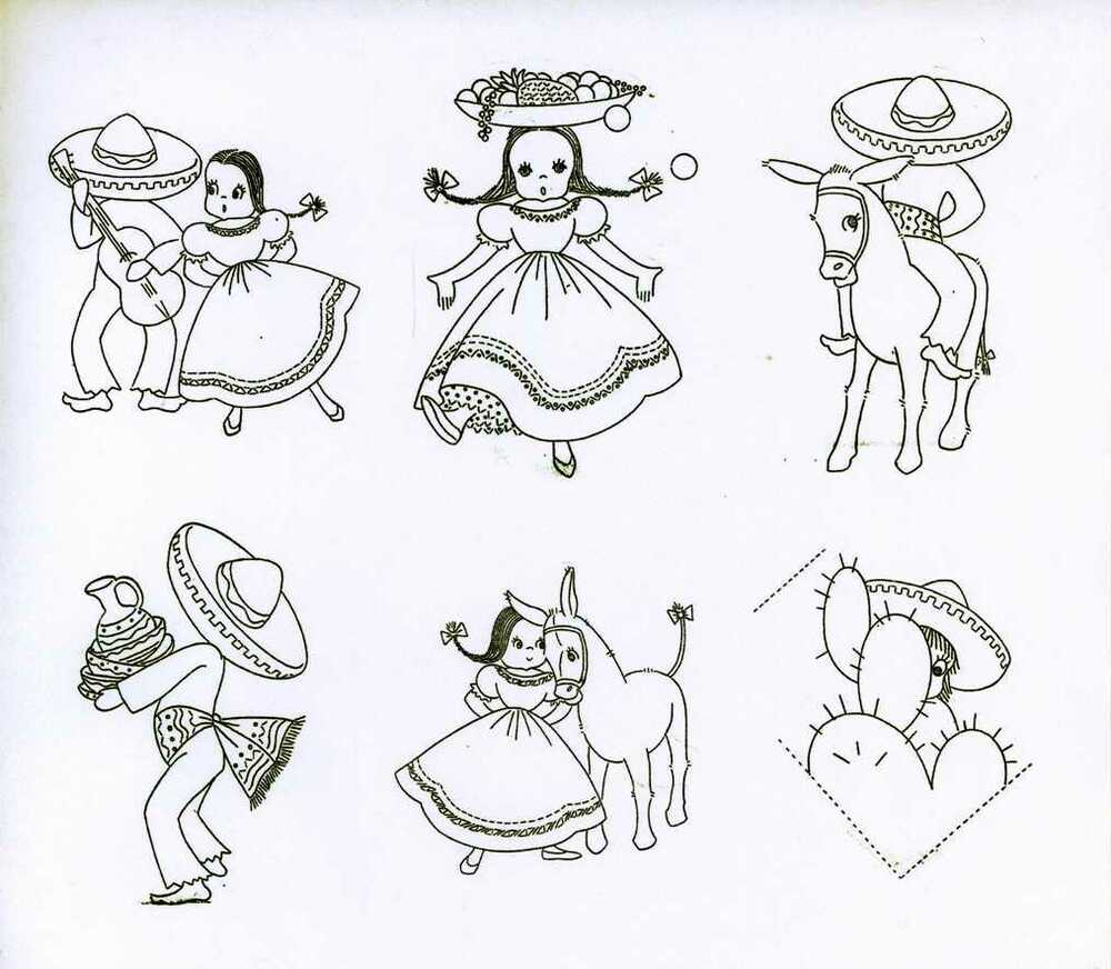 Vintage Embroidery Transfer Repo Mexican Teens For Guest