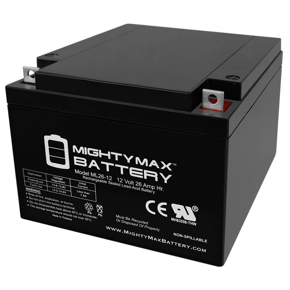 mighty max ml26 12 12v 26ah sealed 12 volt deep cycle rechargeable battery ebay. Black Bedroom Furniture Sets. Home Design Ideas