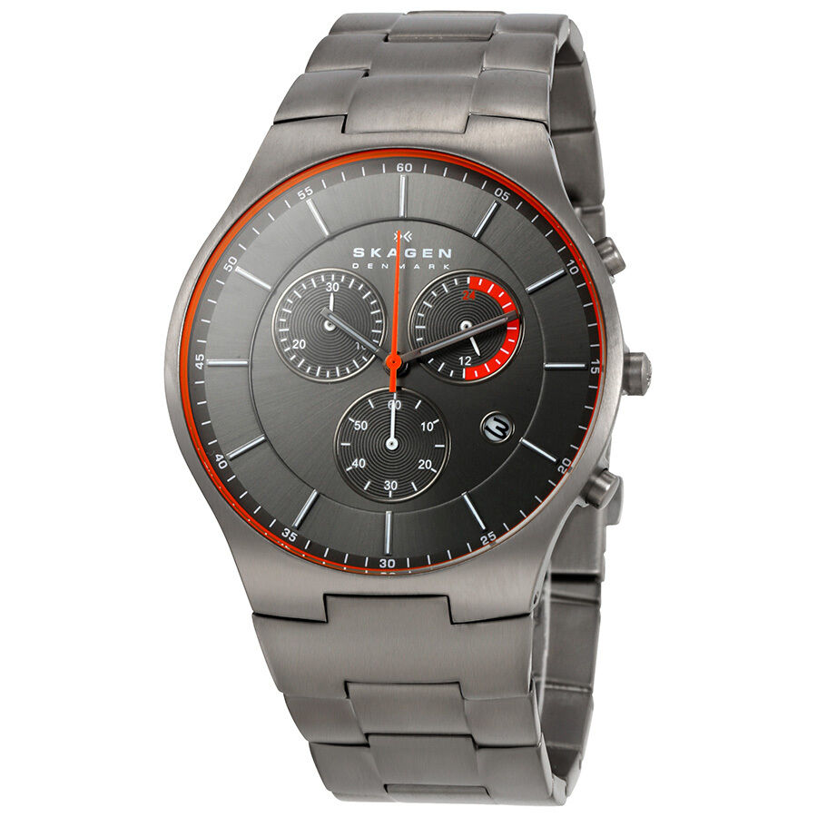 Skagen balder chronograph grey dial titanium mens watch skw6076 768680196641 ebay for Titanium watches