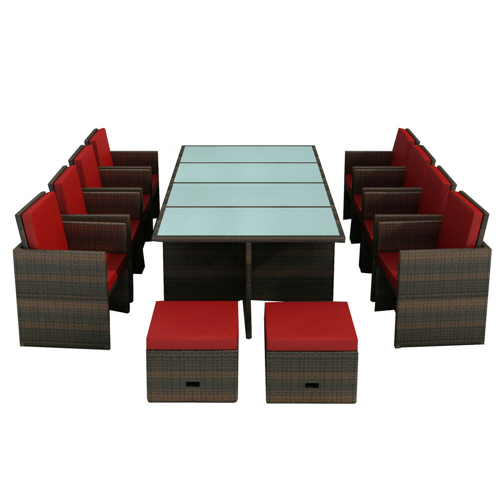 gartenm bel essgruppe bogota braun rot 8 personen polyrattan neu aluminium 4260180276428 ebay. Black Bedroom Furniture Sets. Home Design Ideas