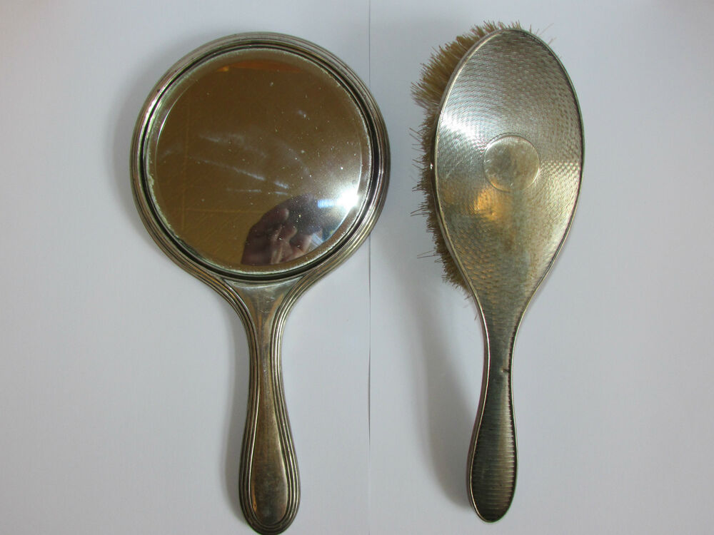 Antique Sterling Silver Hand Mirror, Brush, By Henry ...
