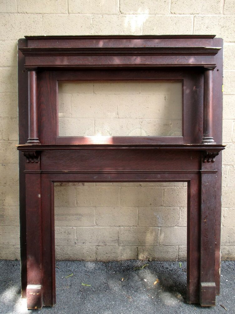 Tall antique oak fireplace mantel inch opening