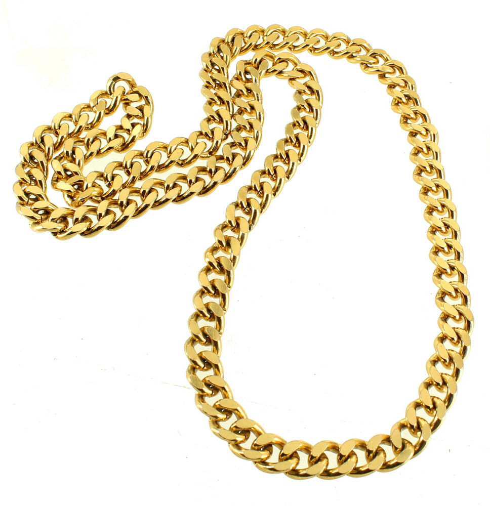 vintage heavy curb link gold tone chain link necklace 36. Black Bedroom Furniture Sets. Home Design Ideas
