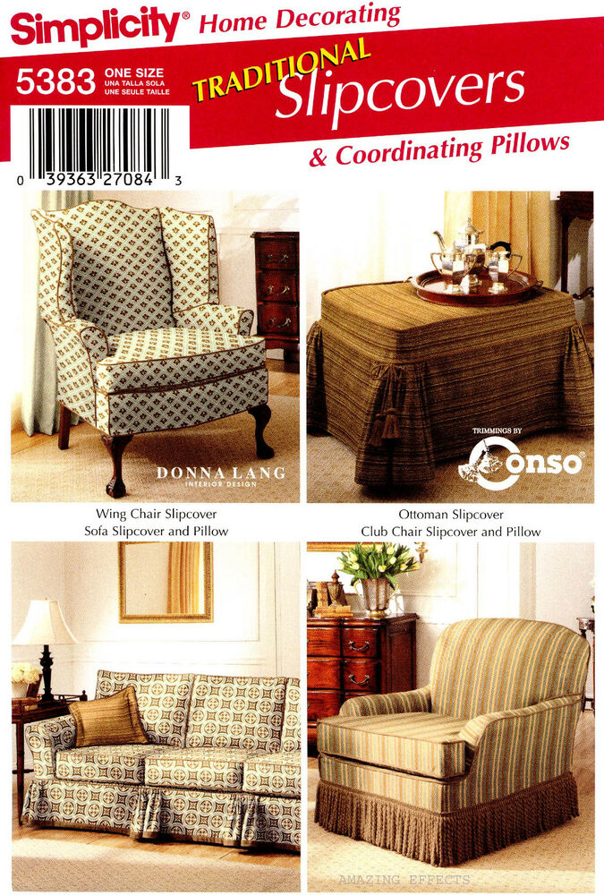 Simplicity Sewing Pattern 5383 Traditional Slipcovers Chair Sofa Ottoman Pillows Ebay
