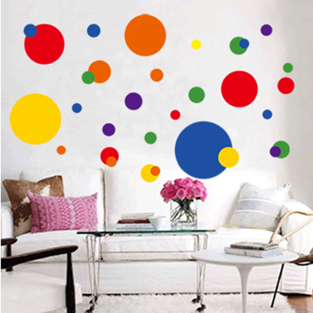 Removable circle polka dots wall art vinyl sticker decal - Removable wall stickers living room ...