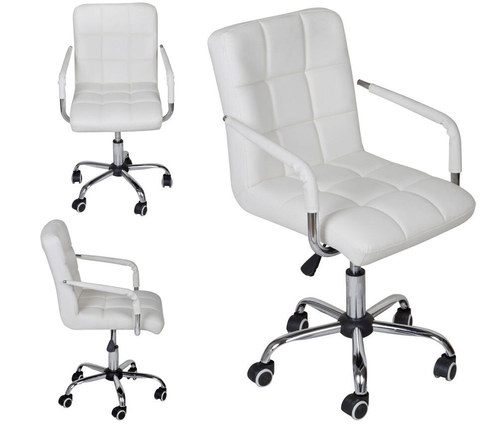 White Modern Office Leather Chair Hydraulic Swivel