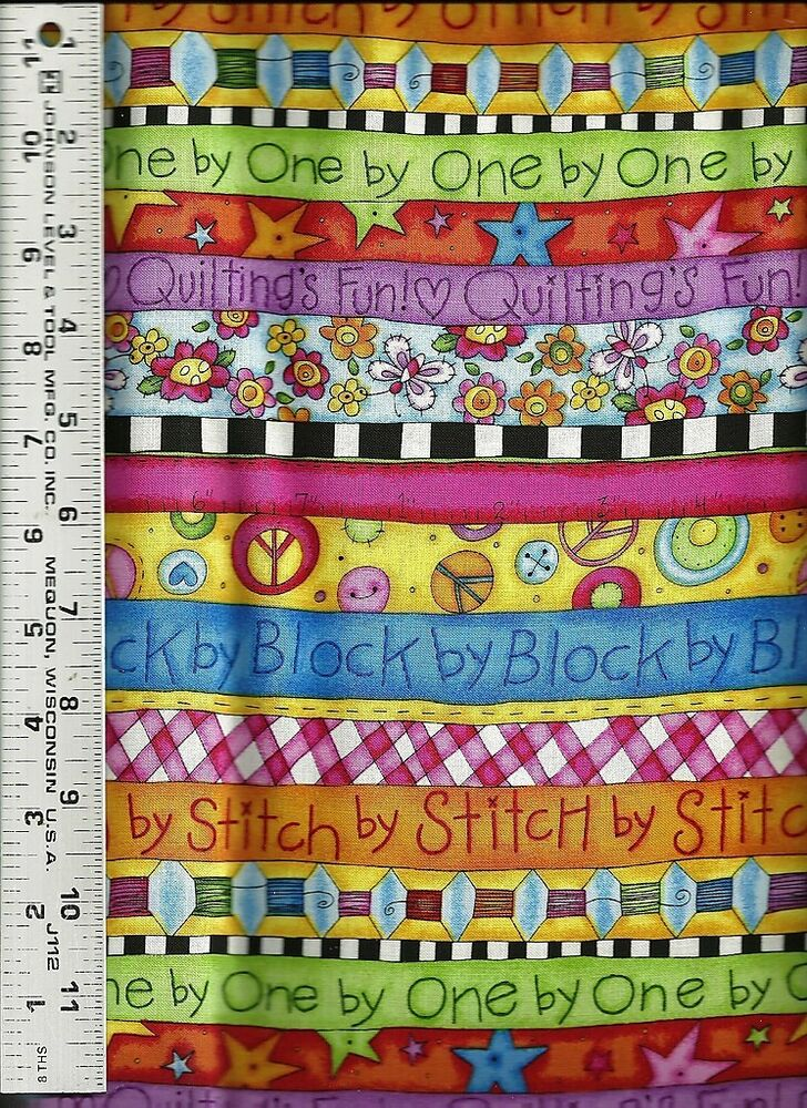 Quilting treasures kp kids bright crazy stripes 100 for Bright childrens fabric