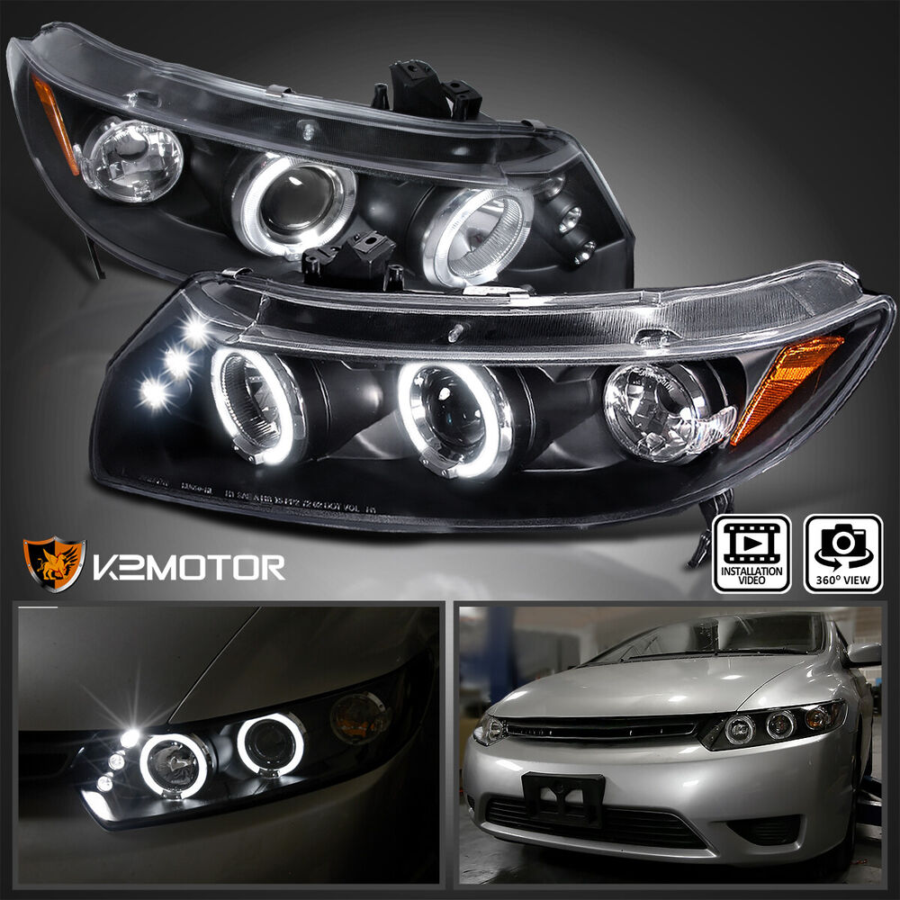 for 2006 2011 honda civic 2dr led halo projector. Black Bedroom Furniture Sets. Home Design Ideas