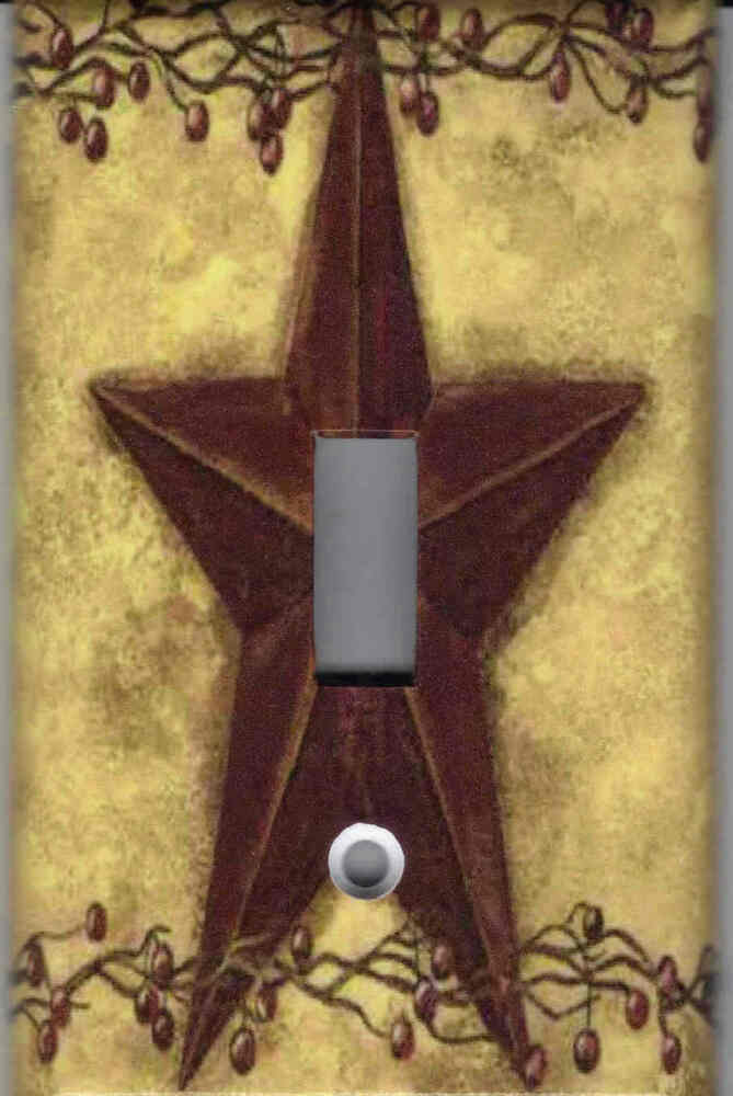 Country primitive barn star home wall decor single light for Country star decorations home
