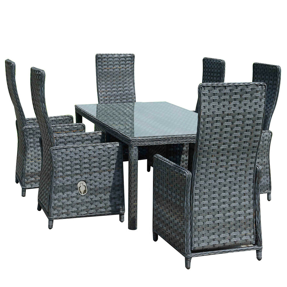 gartenm bel barbados essgruppe polyrattan flachrattan neu aluminium hochlehner ebay. Black Bedroom Furniture Sets. Home Design Ideas