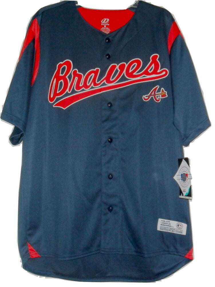 MLB Atlanta Braves Replica Button Down Jersey Adult Sizes Choose Red or  Navy  dffbb0d4b