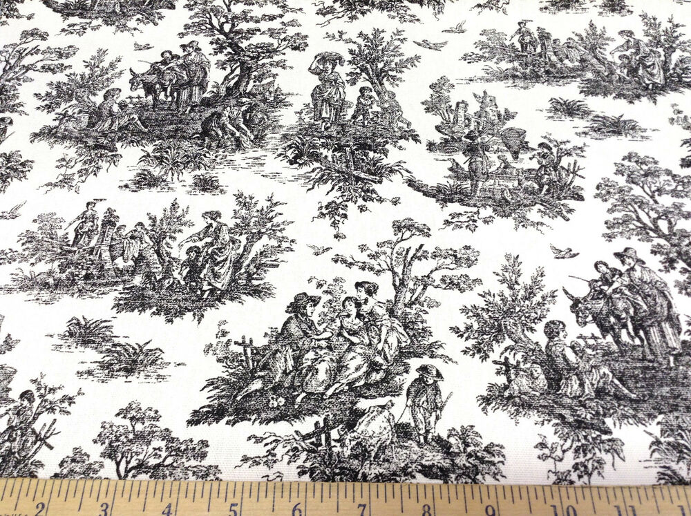 Discount fabric premier prints jamestown colonial toile for Cheap black and white prints